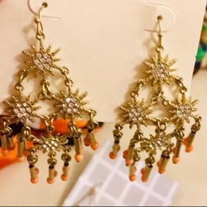 NWT Sabine gold color coral earrings